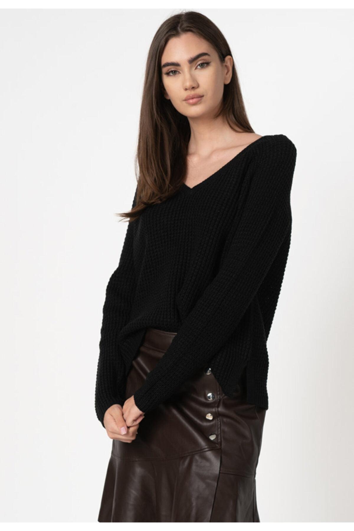 Vero Moda Kadın Siyah Uzun Kollu V-Yaka Kazak 10231592 VMLEANNA 1