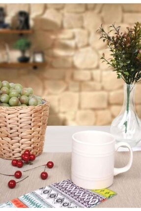 Keramika Varil Silindir Beyaz Kupa