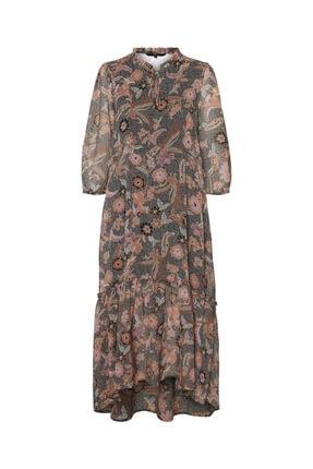 Vero Moda Kadın Carnelian Desenli Uzun Truvakar Kol Elbise 10230399 VMNUKA