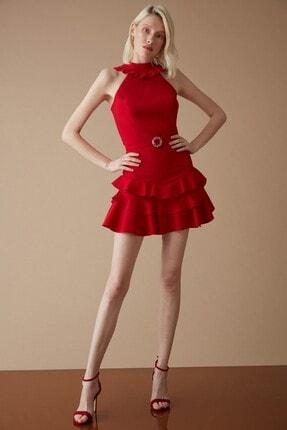 Keikei Kadın Kırmızı Krep Kolsuz Kısa Elbise
