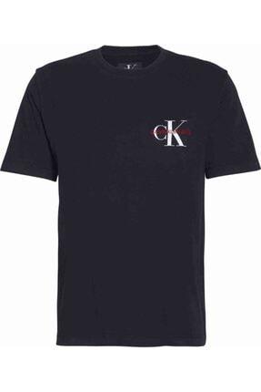 Calvin Klein Erkek Siyah Kısa Kollu Monogram Embro Reg Chest T-shirt