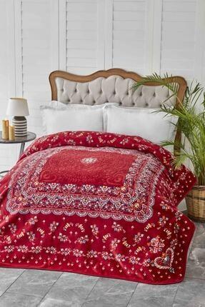 Karaca Home Mihver Kırmızı Çift Kişilik Pano Embosy Battaniye