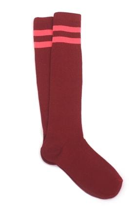 Hane14 Kadın Pembe Kırmızı Çizgili Diz Altı Spor Çorap