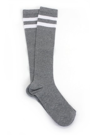 Hane14 Kadın Gri Beyaz Çizgili Diz Altı Koton Spor Çorap