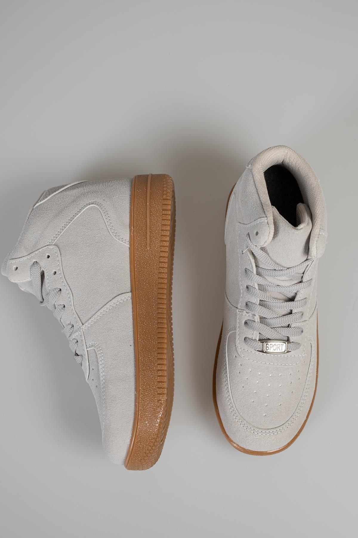 MUGGO Unisex Gri Süet Sneaker 1