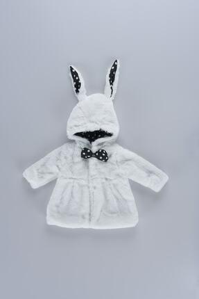 Cumino Kız Bebek Beyaz Papyon Detaylı Tavşan Görünümlü  Peluş Mont 09244