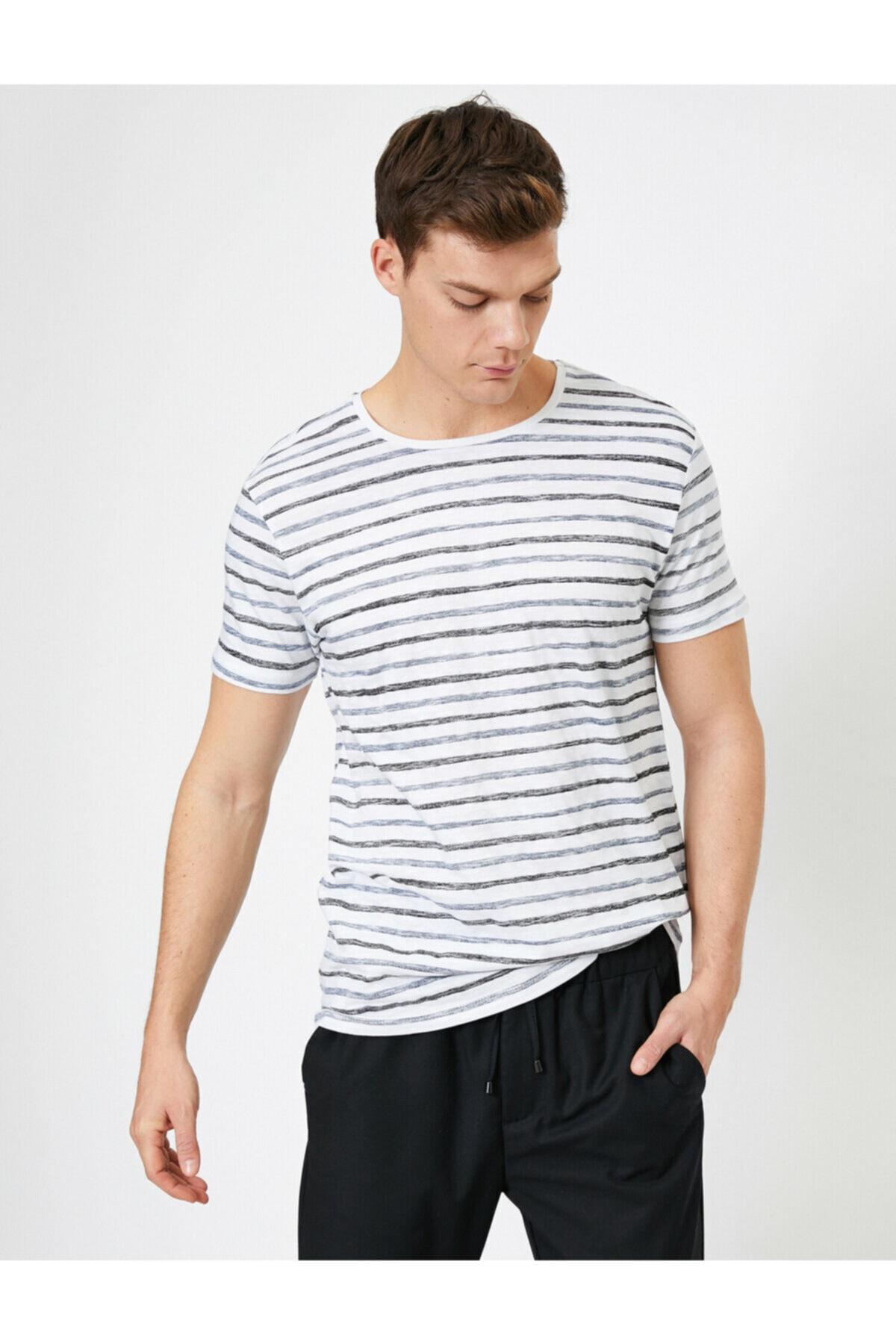 Koton Erkek Beyaz Çizgili T-Shirt 0YAM14290OK 1