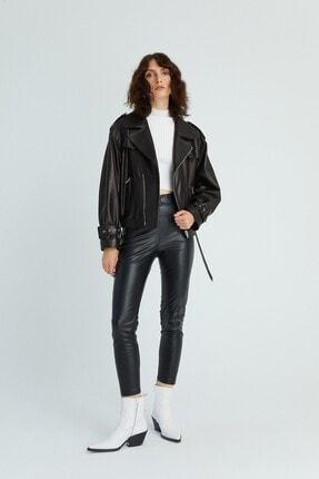 rue. Kadın Kemerli Biker Deri Ceket