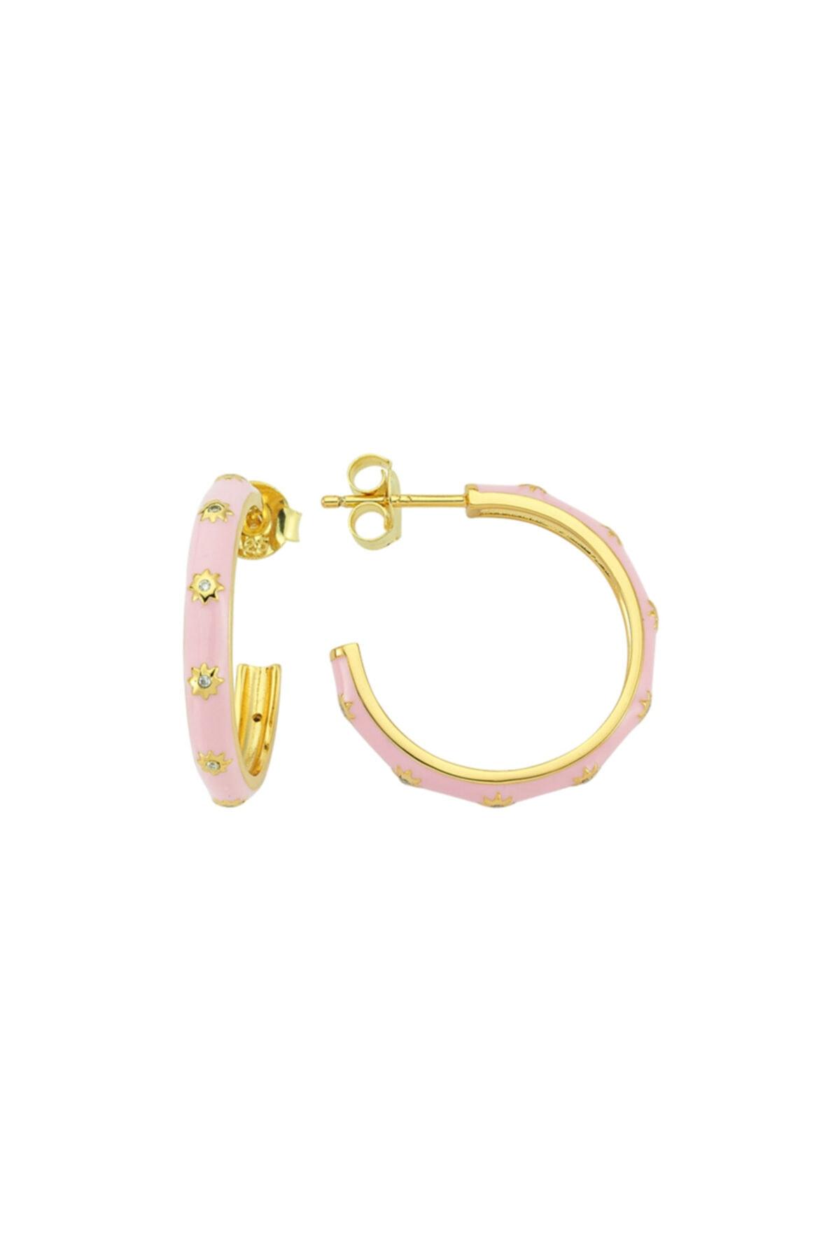 Luzdemia White Hoop Earr. 925 - Pink 1