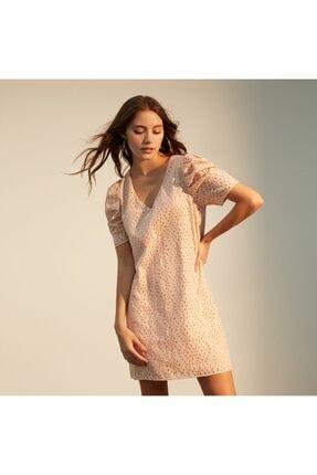 Mudo Kadın Pembe Dantelli Midi Elbise