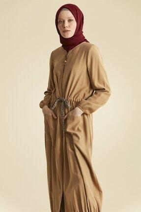Nihan Beli Ipli Doğal Kumaş Fermuarlı Pardesü-camel X3082
