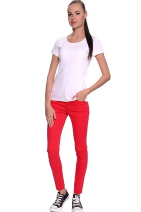 LİMON COMPANY Kadın Kırmızı Slim Fit Pantolon 501961796