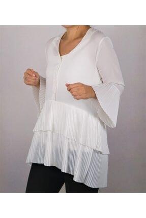 Balbutik aksesuar & sarsilmazdekor Kadın Beyaz Kat Kat Piliseli Volan Detaylı Gömlek Elbise