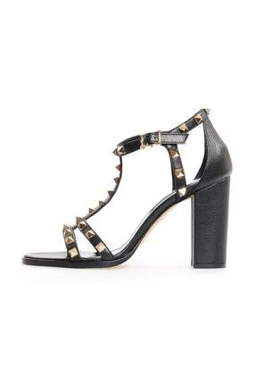 Flower Kadın Siyah Deri Trok Detaylı Sandalet