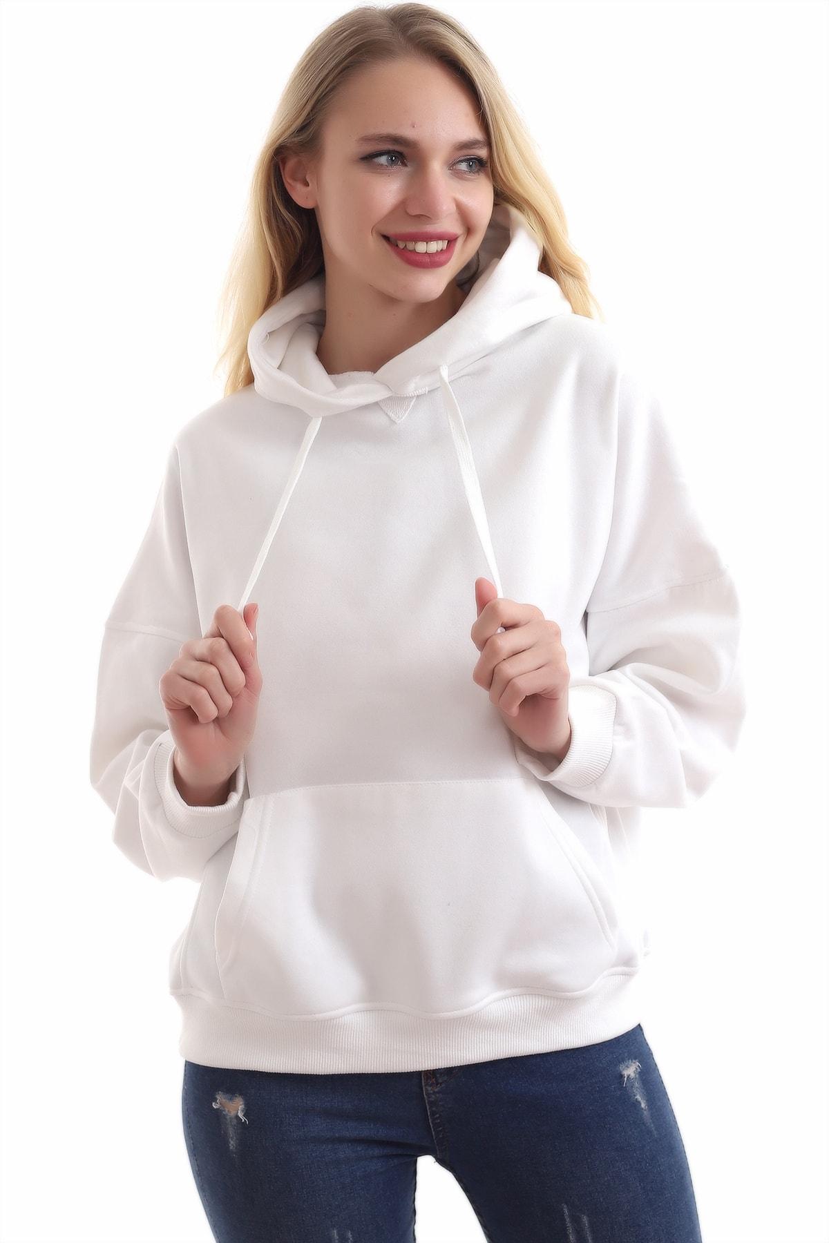 boffin Kadın Beyaz İçi Pamuklu Oversıze Sweatshirt 1