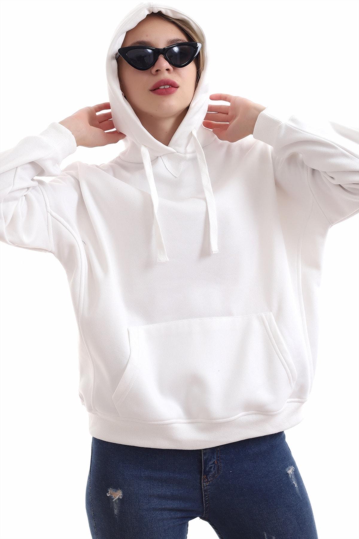 boffin Kadın Beyaz İçi Pamuklu Oversıze Sweatshirt 2