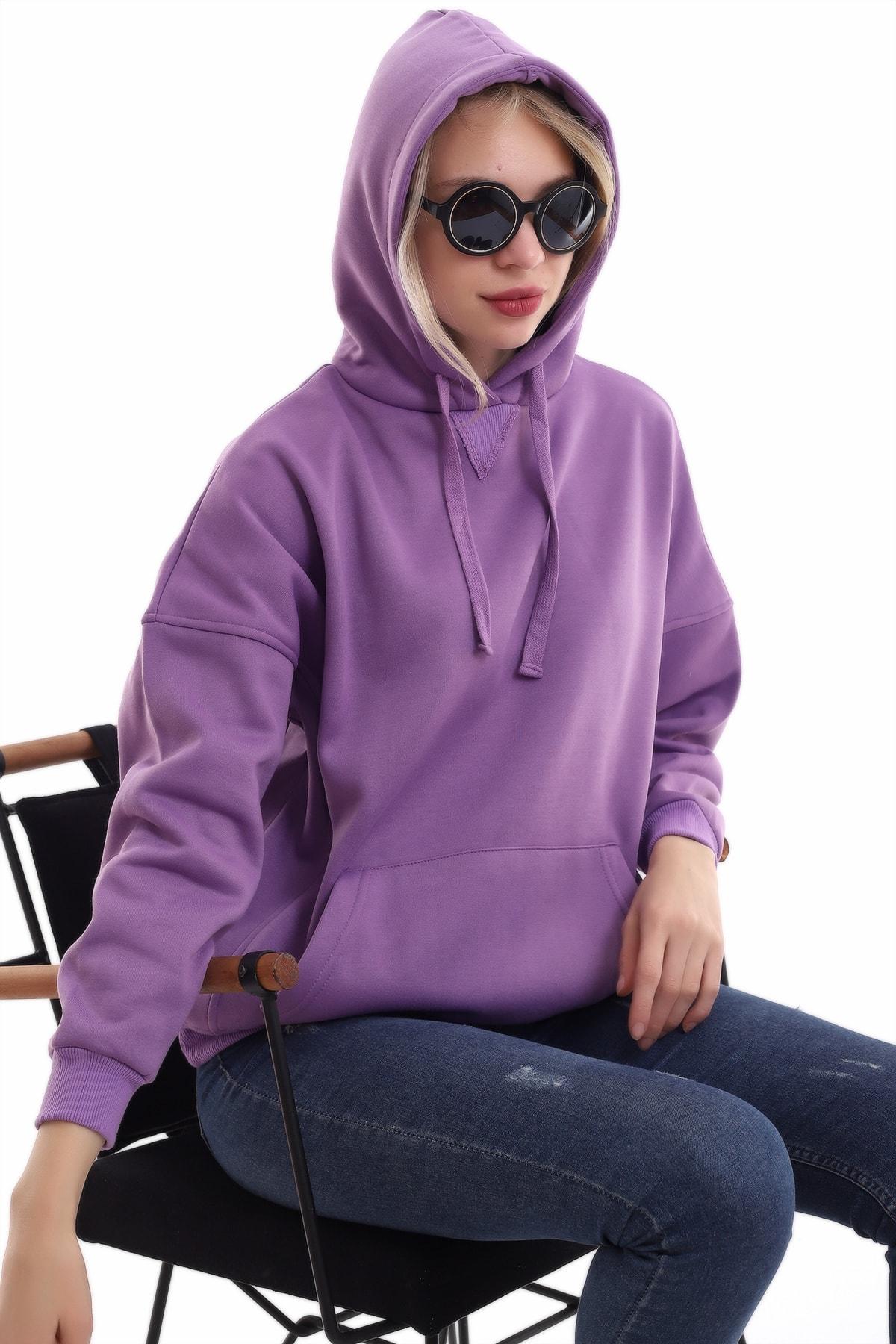 boffin Kadın Mor Içi Pamuklu Oversıze Sweatshirt 2