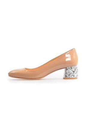Flower Kadın Vizon Topuk Detaylı Kalın Topuklu Ayakkabı