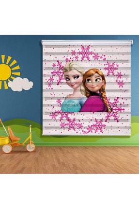 System Ev Dekorasyon Elsa Ve Anna Baskılı Zebra Perde Modeli