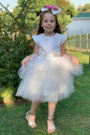 Mnk Beyaz Renk Pul Payetli Kız Çocuk Parti Elbisesi
