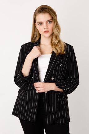 Ekol Kadın Siyah Çizgi Desenli Ceket