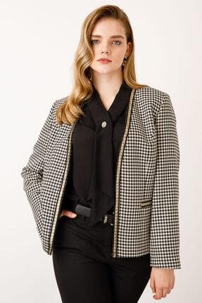 Ekol Kadın Siyah Beyaz Desenli Ceket