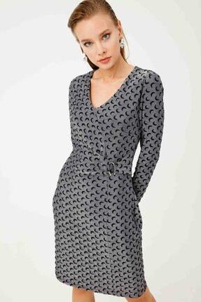 Ekol Kadın Gümüş Süs Kuşaklı Elbise