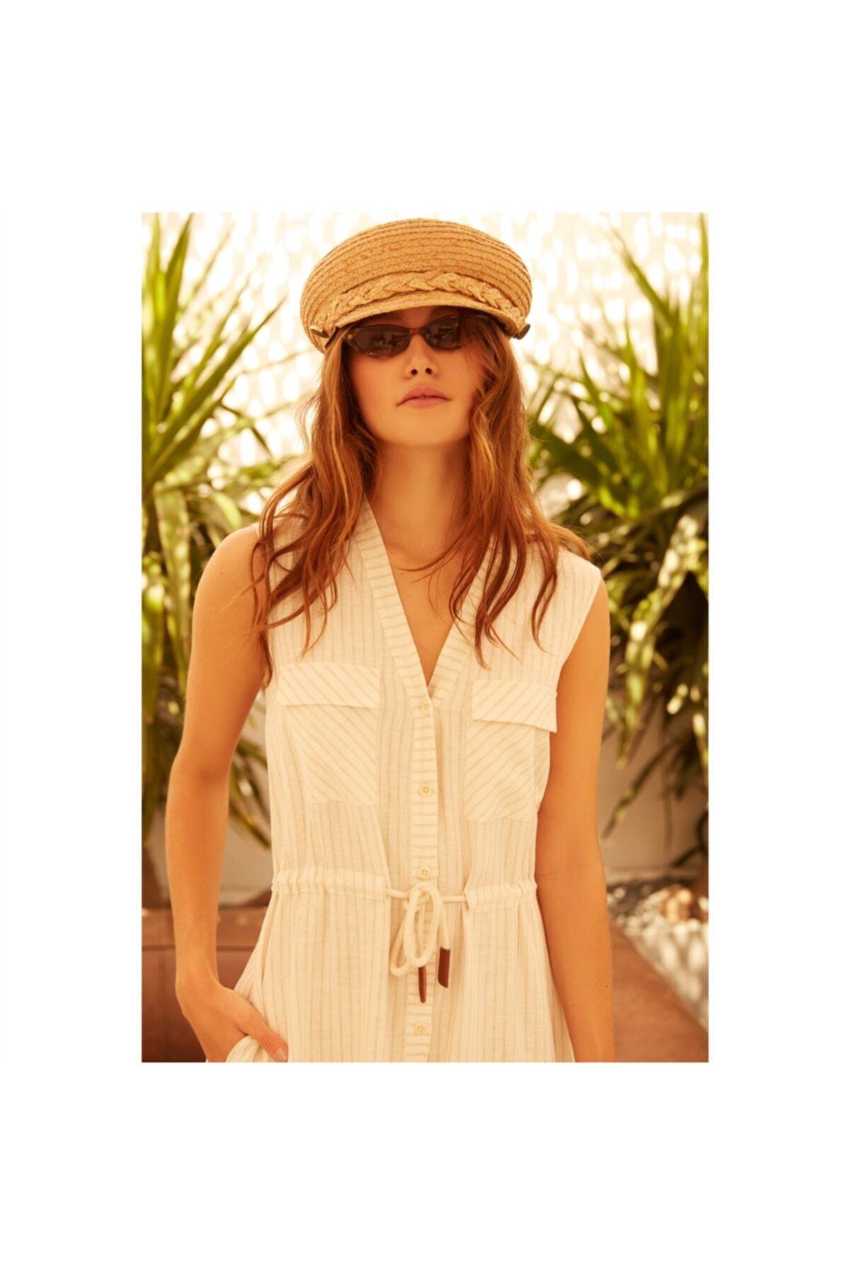 Mudo Kadın Multi Renk Viskoz/Keten Midi Elbise 2