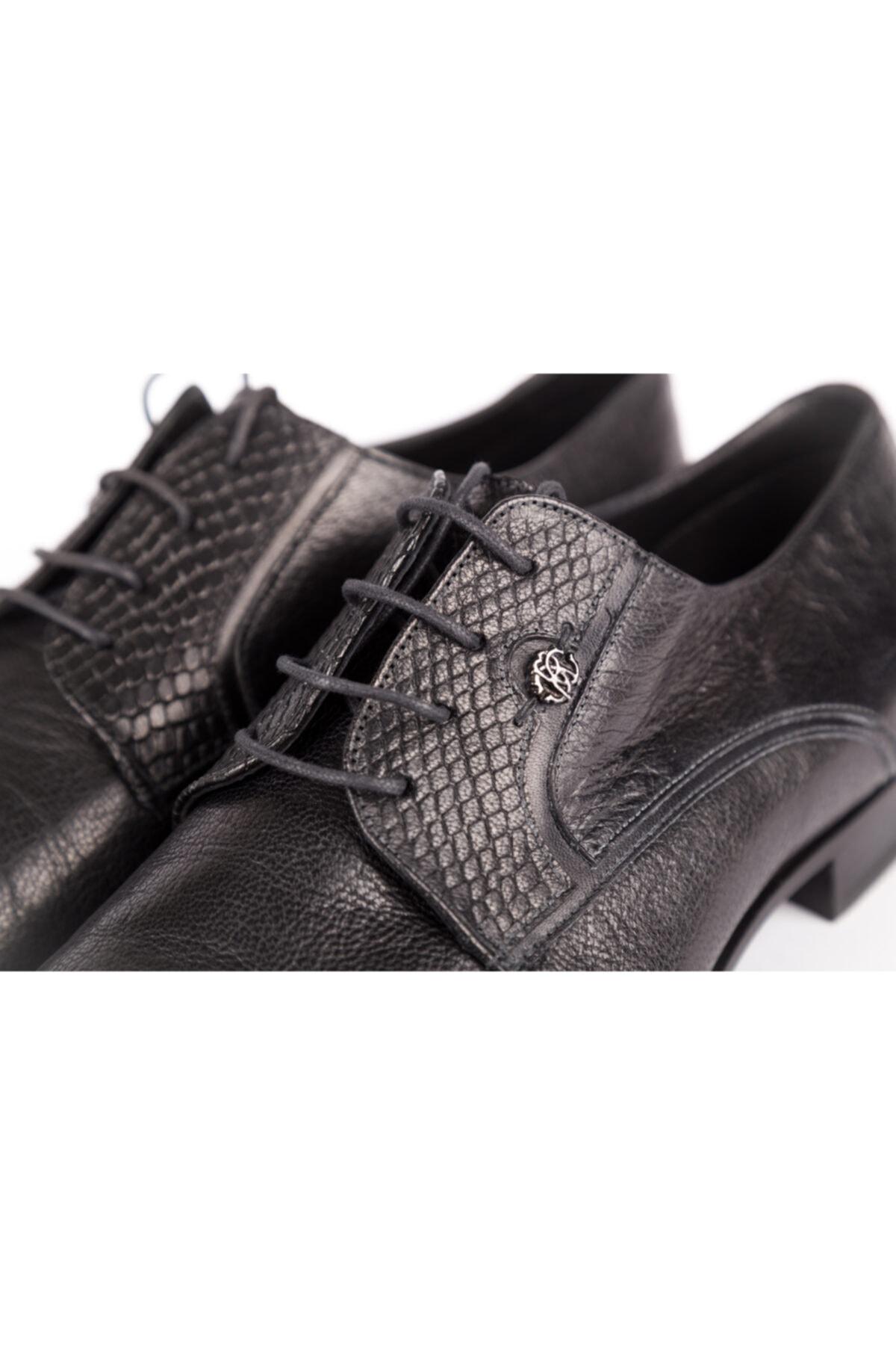 Roberto Cavalli Erkek Siyah Hakiki Deri Klasik Ayakkabı 1