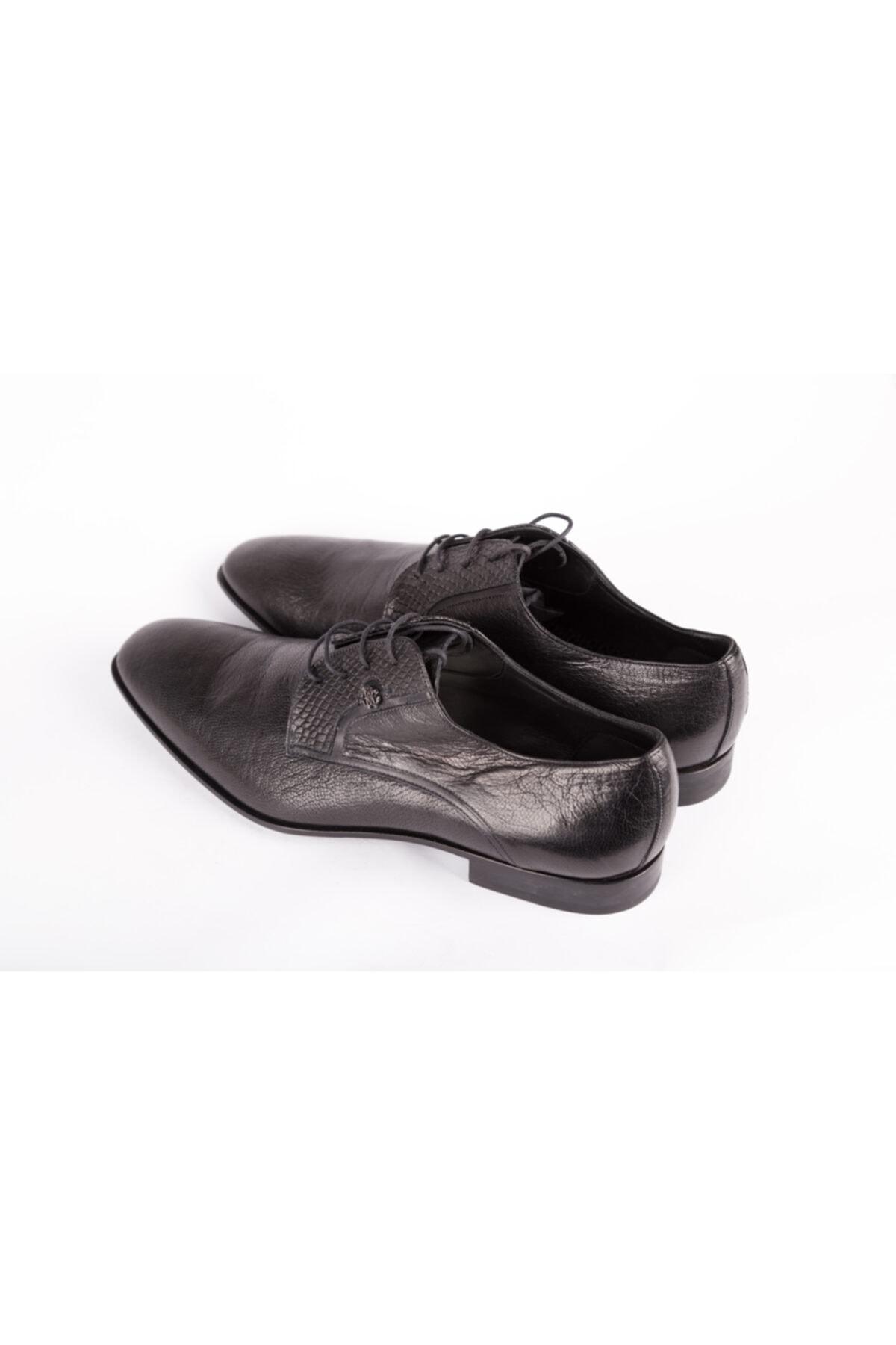 Roberto Cavalli Erkek Siyah Hakiki Deri Klasik Ayakkabı 2
