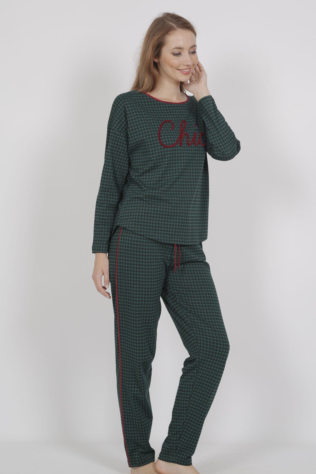 VİENETTA Kadın Uzun Kol Normal Beden Yazılı Desen Yesil Pijama Takım 2