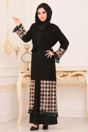 Nayla Collectıon Nayla Collection - Pul Payetli Siyah Tesettür Abaya 9022s