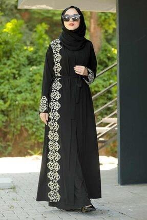 Neva Style - Desenli Siyah Tesettür Abaya 9214s