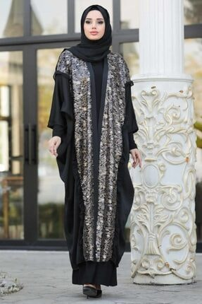 Nayla Collectıon Nayla Collection - Desenli Siyah Tesettür Abaya 8958s