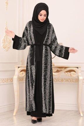 Nayla Collectıon Nayla Collection - Bağcıklı Siyah Tesettür Abaya 95950s