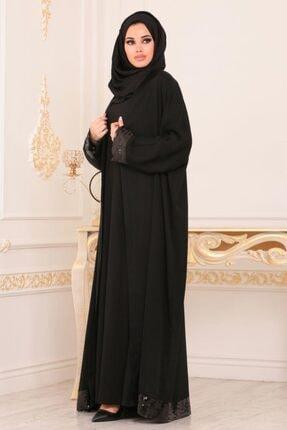Nayla Collectıon Nayla Collection - Pul Payetli Siyah Tesettür Abaya 9028s