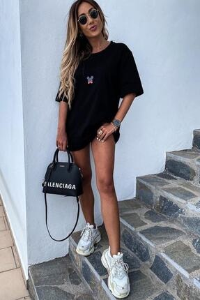 Unique Kadın Siyah Mickey Mouse Baskılı Oversize Tshirt