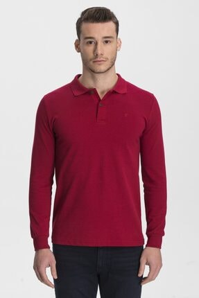 hateko Erkek Kırmızı Pamuk Uzun Kollu Polo Yaka Tişört