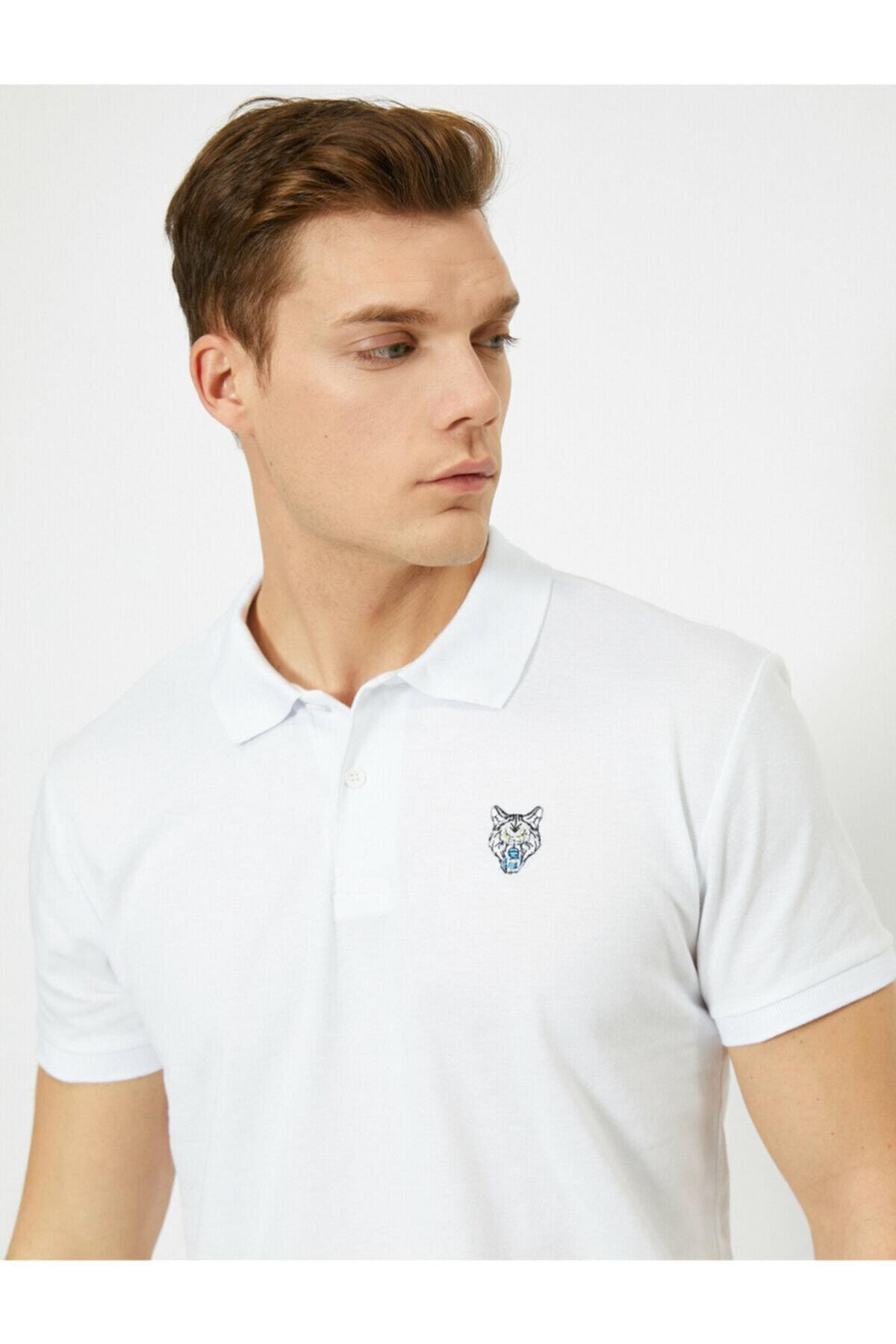 Koton Erkek Beyaz Polo Yaka T-shirt 1