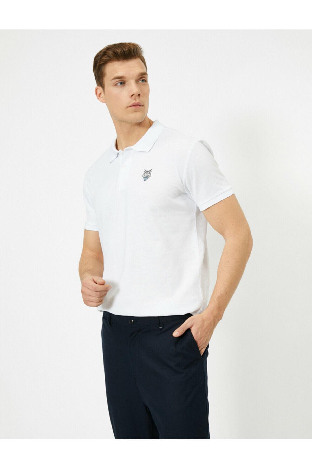 Koton Erkek Beyaz Polo Yaka T-shirt 2