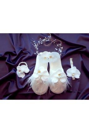 Şeker Tadında Tasarımlar Kadın Beyaz Orkide Taç Terlik Bileklik Seti