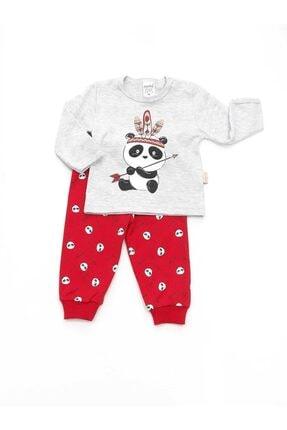 Dandini Unisex Çocuk Gri Panda Baskılı Pijama Takımı