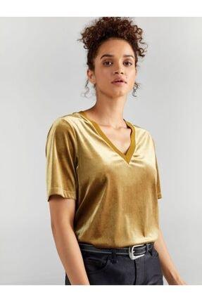Faik Sönmez Kadın Sarı V Yaka Kadife Bluz