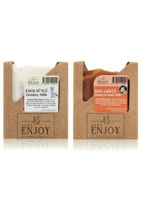 Enjoy Doğal Eşek Sütlü - Bal Keçi Sütlü El Yapımı Yüz, Saç Ve Vücut Sabunu (ikili Paket)