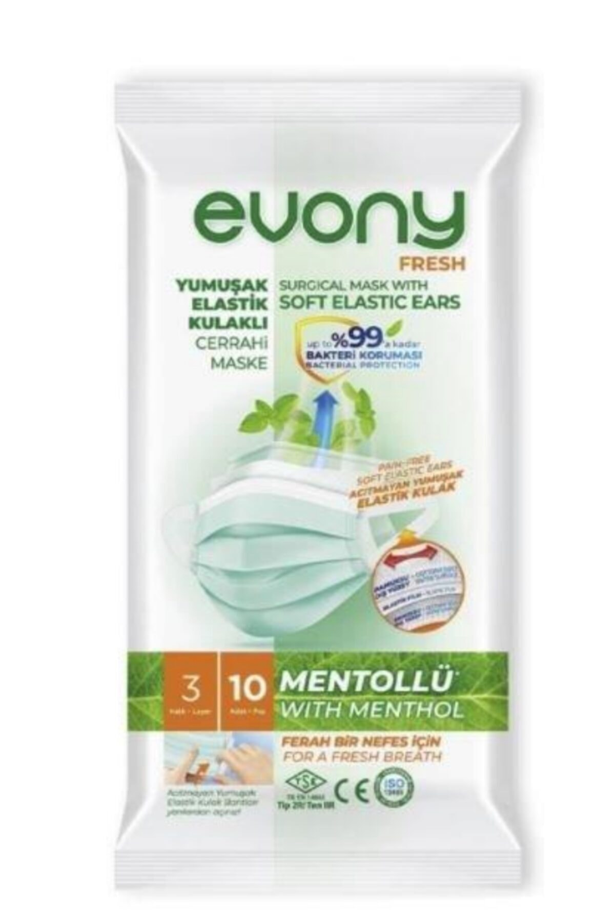 Evony Elastik Kulaklı Fresh Mentollü Maske 50 Adet (10 X 5 Paket) 1