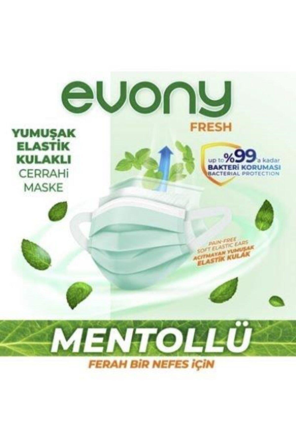Evony Elastik Kulaklı Fresh Mentollü Maske 50 Adet (10 X 5 Paket) 2