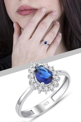 Girabella Kadın Mavi Damla Gümüş Yüzük
