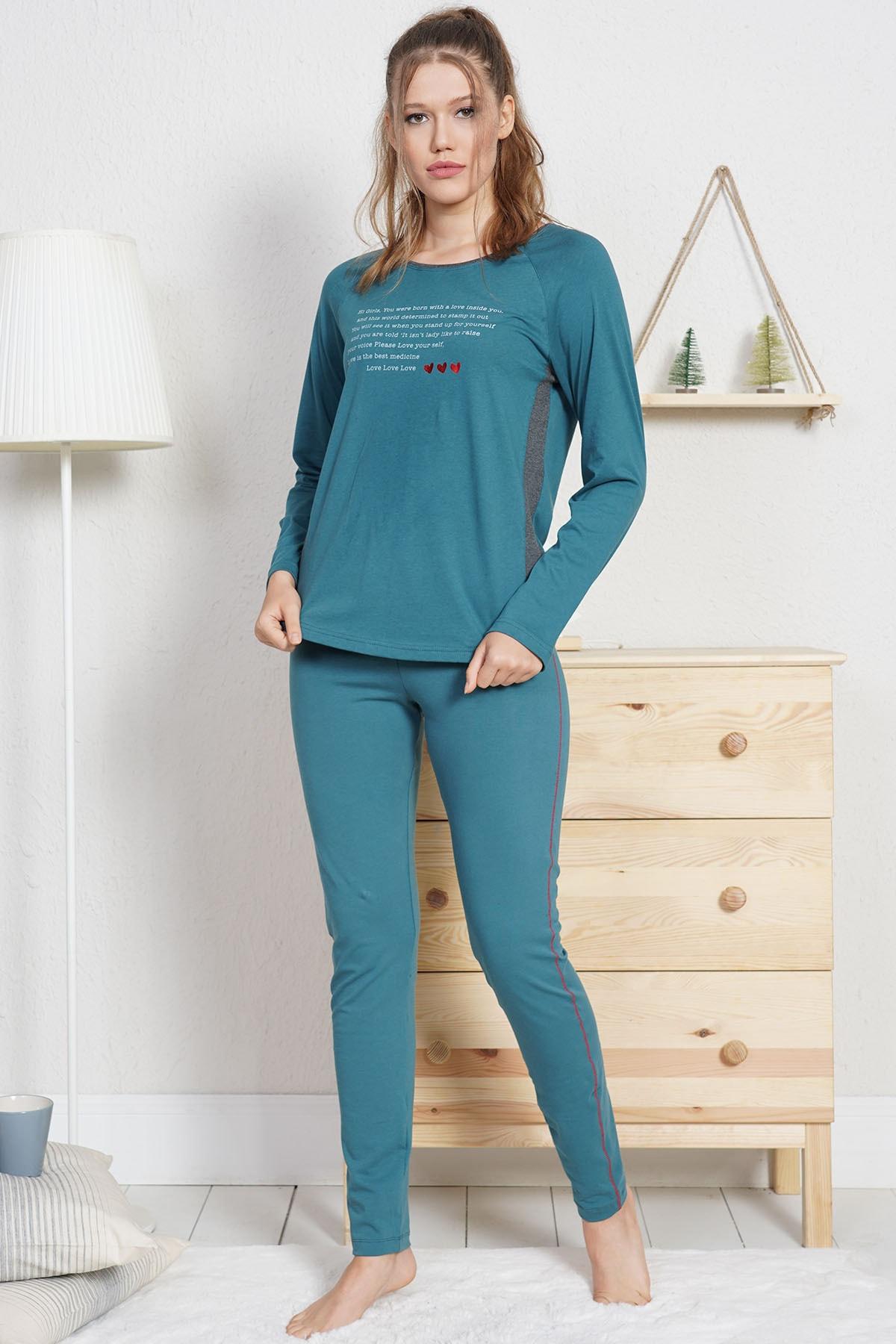 VİENETTA Lycralı Pamuklu Kadın Pijama Takım 1