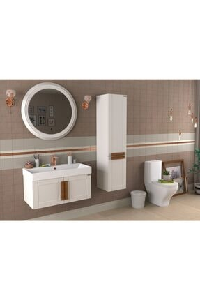 Pierre Cardin Mat Beyaz Banyo Dolabı Pio 85 cm