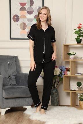 ARCAN Kadın Siyah Kısa Kollu Önden Düğmeli Biye Detaylı Pijama Takımı